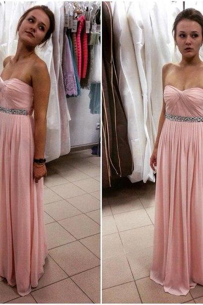 Sweetheart Neck Long Chiffon Prom Dresses Crystals Beaded Floor Length party Dresses Custom Made