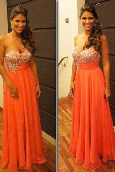 Long Chiffon Crystals Prom Dresses Sweetheart Neck Floor Length Beading Pleat Floor Length Party Dresses