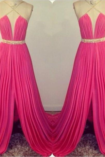 Halter Neck Long Chiffon Prom Dresses Pleat Floor Length Custom Made Party Dresses