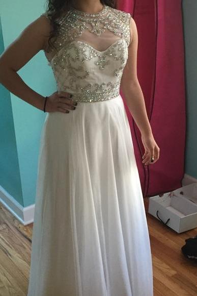 Gorgeous White Long Chiffon Prom Dresses with Crystals Sleeveless Party Dresses