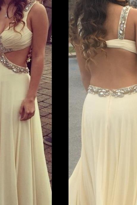 Backless Long Chiffon Prom Dresses with Crystals and Pleat