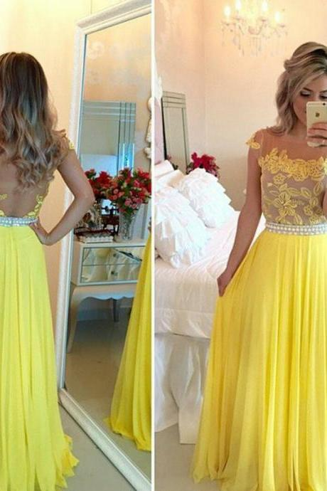 Yellow Scoop Neck Chiffon Prom Dresses with Lace Appliques