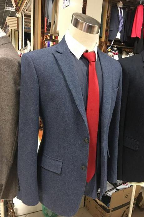 Blue Tweed Men Suit Tailor made Jacket and Pant Single Breasted