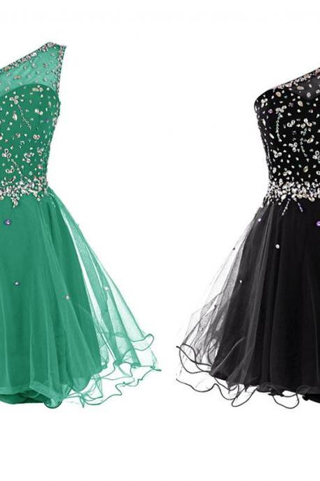 One Shoulder Tulle Homecoming Dresses with Crystals