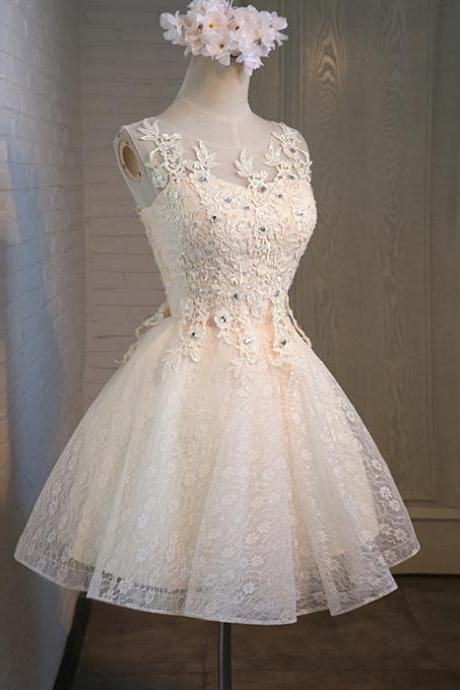Short Lace Homecoming Dresses Scoop Neck Lace Appliques