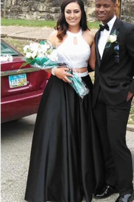 High neck Black Satin Prom Dresses with Crystals Women Party Dresses