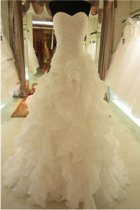 Mermaid Ruffle Organza Wedding Dresses Sweetheart Neck Women Bridal Gowns
