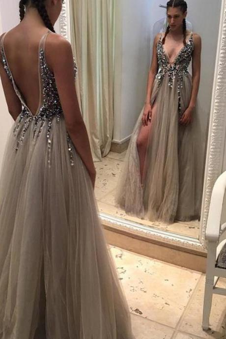 Sexy Deep V-neck Prom Dresses Long tulle Crystals Women Party dresses