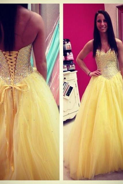 Yellow tulle Prom Dresses Sweetheart Neck Crystals Women Custom Made Party Dresses