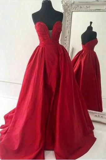 Sweetheart Red Satin Prom Dresses Pleat Women party Dresses