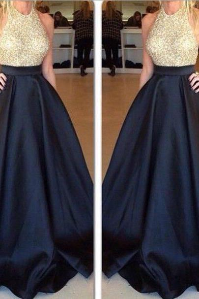 Black Satin Prom Dresses O-neck Crystals Women party Dresses
