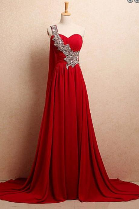 One Shoulder Long red Chiffon Prom Dresses Crystals Women Party Dresses