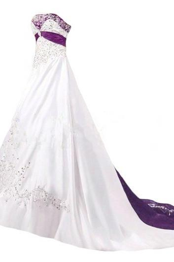 Embroidery Satin Wedding Dresses Crystals Women Bridal Gowns