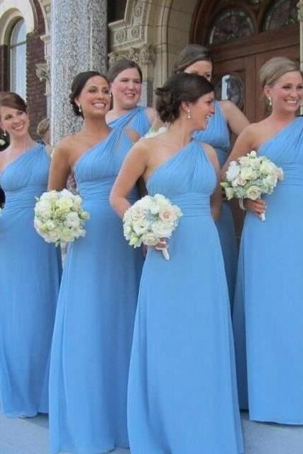 One Shoulder Long Chiffon Bridesmaid Dresses Pleat Women Dresses