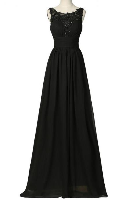 Scoop neck Long Chiffon Black Prom Dresses Lace Appliques Women Party Dresses