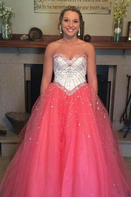 Sweetheart Long tulle Prom Dresses Crystals Women Party Dresses