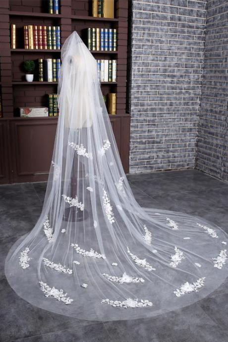 3 meters long Big Wedding Veils Lace Edge