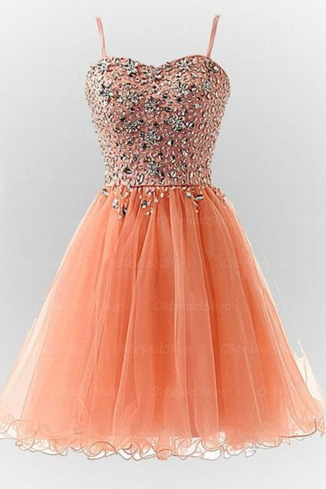 Spaghetti Straps A-line Tulle Homecoming Dresses Crystals Women party Dresses