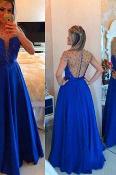 Dark Blue Satin Prom Dresses Beaded Short Sleeves Women Party Dressses