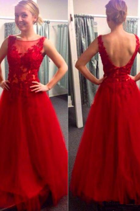 Dark Red Tulle Prom Dresses Scoop Neck Long Lace Appliques Women Dresses