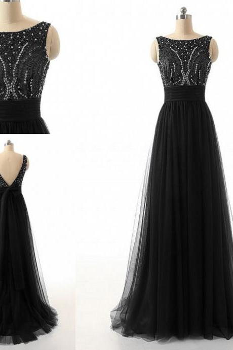 Scoop Neck Long tulle Prom Dresses, Crystals Women Prom Dresses, Open back party Dresses, Prom Dresses 2017