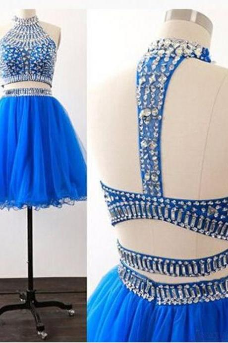 Two Parts Short Tulle Homecoming Dresses Crystals Beaded Women party Dresses
