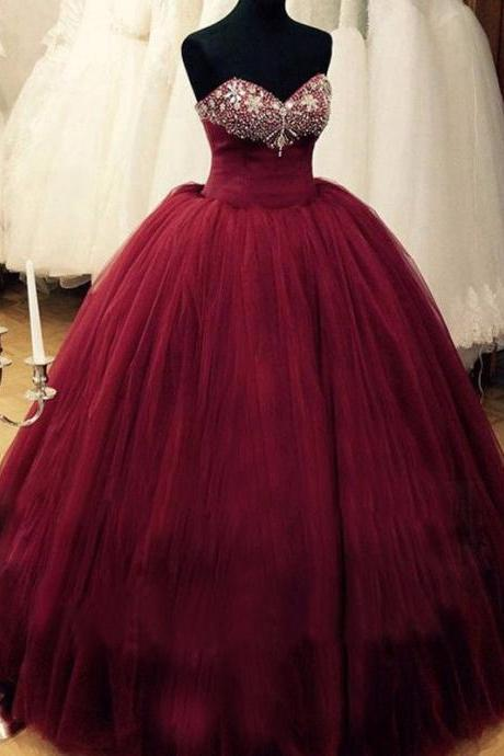 Sweetheart neck prom Dresses, Ball Gowns Prom Dresses, Crystals Prom Dresses, Crystals Party Dresses 2017