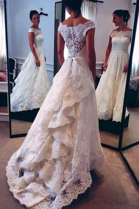 White Lace Bridal Gowns, Formal Women Wedding Dresses, Floor Length Women Wedding gowns 2017