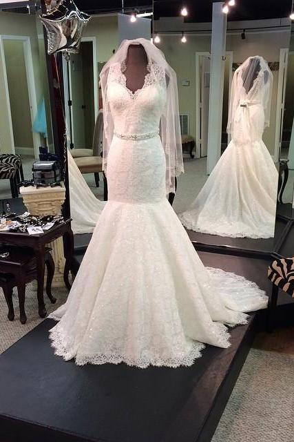 Mermaid Lace Bridal Gown, Open Back Wedding Gowns, Floor Length women Wedding Dresses 2017