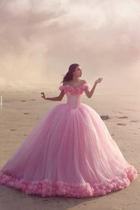 Ball Gown Pink Tulle Bridal Gown with Appliques Off Shoulder Style