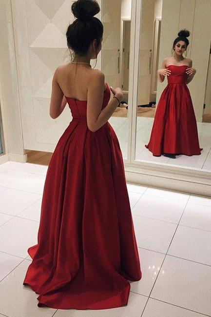 Sweetheart Neck Red Satin Prom Dresses Floor Length Women Dresses