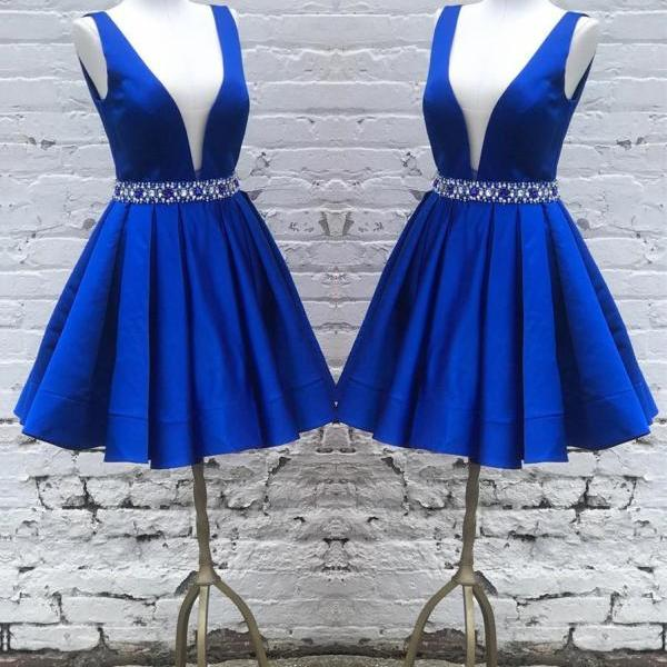 Deep V Neck Royal Blue Satin Prom Dress Beaded Short Women Party Dress