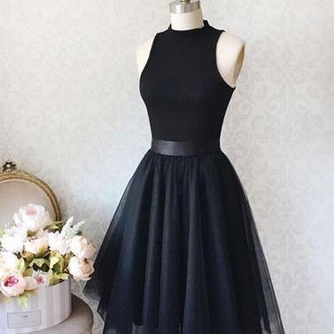 Tea Length Black Tulle Prom Dress Sleeveless Women Party Dress AF060450