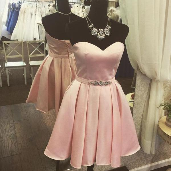 Knee Length Pink Satin Prom Dress Strapless Short Women Party Dress AF060455