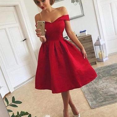 Off the Shoulder Red Satin Prom Dress Tea Length Women Party Dress AF060460