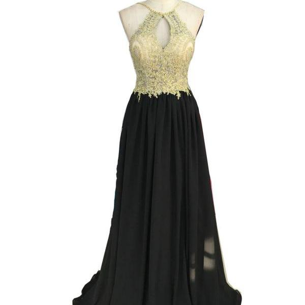 Halter Neck Long Chiffon Prom Dress Lace Appliques Beaded Women Formal Dress AF070301