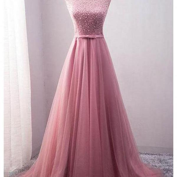 Cap Sleeves Long Tulle Prom Dress Scoop neck beaded women Party Dress AF070302