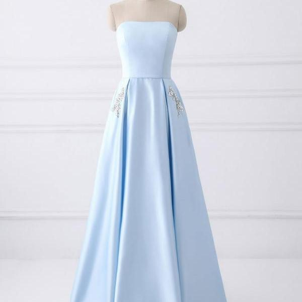 Strapless A-line Light Blue Prom Dress Beaded Women Party Dress AF070303