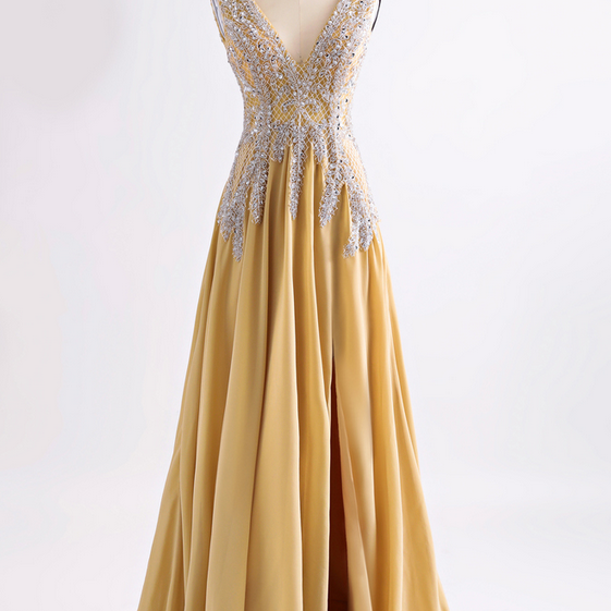 V Neck Long Chiffon Prom Dress Floor Length beaded Women Dress