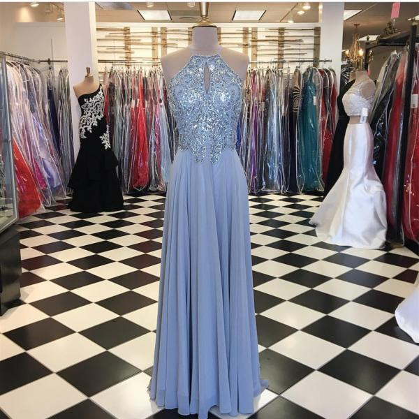 Halter Neck Long Chiffon Prom Dress Beaded Floor Length Women Dress