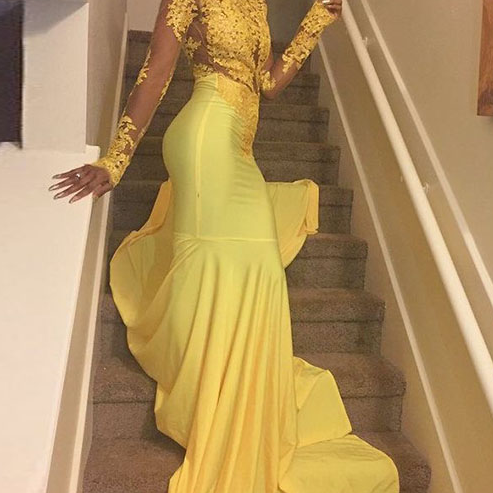 Long Sleeves Prom Dress, Yellow Prom Dresss, Lace Prom Dress, yellow evening dress, high neck prom dress