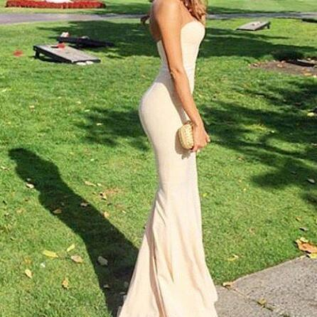 Strapless Prom Dress, Mermaid Prom Dress, Slit Women Prom Dress, Long Women Evening Dress 2019