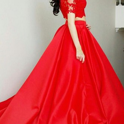 Half Sleeves A-line Red Satin Prom Dress Lace Appliques Floor Length Women Party Dress 2019