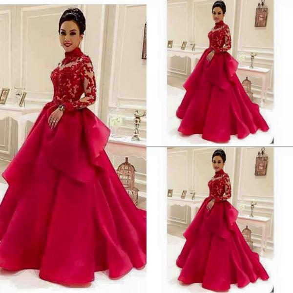 Charming Long A-line Red Prom Dress Long Sleeves lace Appliques Women Evening Dress