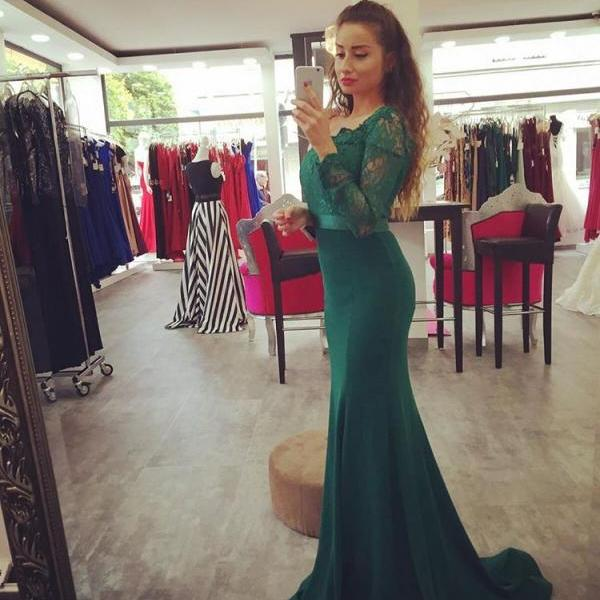 Off the Shoulder Mermaid Long Green Satin prom Dress Lace Appliques Women Evening Dress