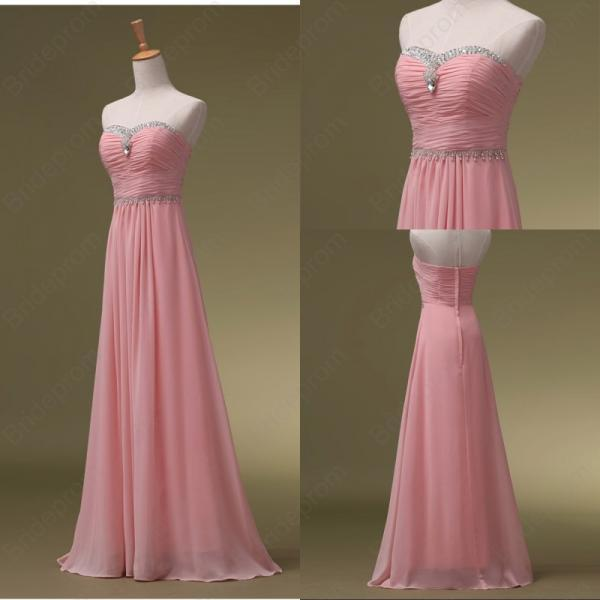 Women's Long Chiffon Pink Prom Dresses Strapless Beaded Party Dresses AF0605741