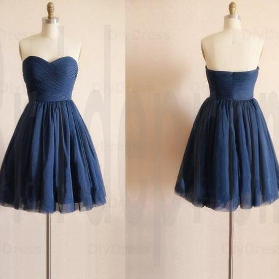 Above Knee Tulle Homecoming Dress Strapless Navy Blue Party Dress