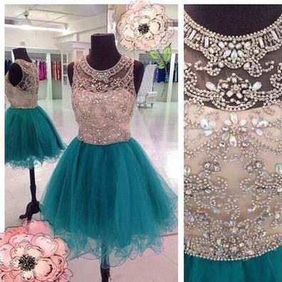 Women's Tulle Blue Prom Dresses Scoop Neck Above Knee Mini party Dress