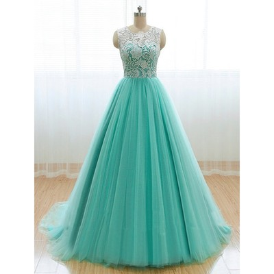 Women's Long Tulle Prom Dresses Scoop Neck Lace Party Dresses