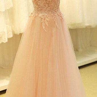 Light Pink Tulle Prom Dresses Scoop Neck Lace Appliques Party Dresses